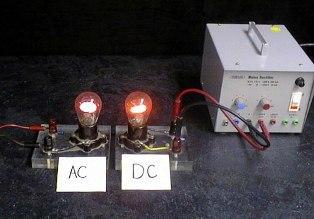 Различие постоянного (dc-ток) и переменного (ac) тока