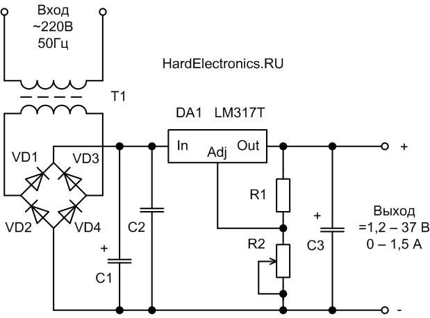 Схема линейного интегрального стабилизатора с регулируемым напряжением ЛМ-317