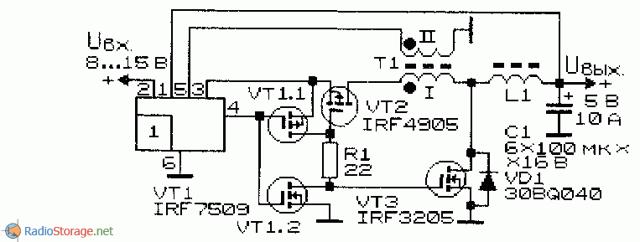 Схема работы импульсного стабилизатора: стабилизация повышенного вольтажа