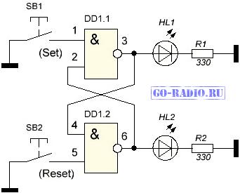 Триггеры на транзисторах (Шмитта) и реле (на логических элементах)