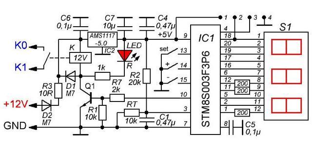 w-1209: схема установки и программирования терморегулятора