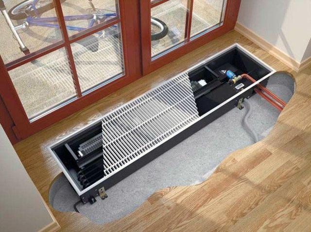 Водяные внутрипольные конвекторы отопления: их виды и характеристики