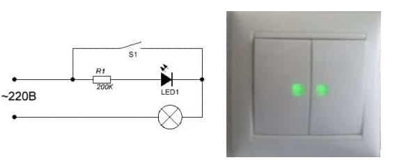 Как подключить светодиодный выключатель: схемы для устройства с подсветкой