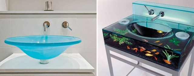 Стеклянные раковины для ванной комнаты: обзор оригинальной сантехники