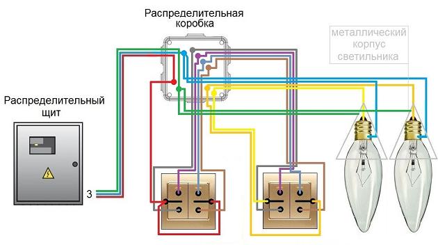 Проходной выключатель схема подключения на 2 клавиши: рекомендации по выбору и подключению